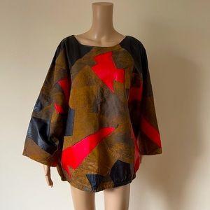 VINTAGE | Leather patchwork top